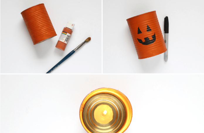 Making a Halloween candle holder and easy crafts